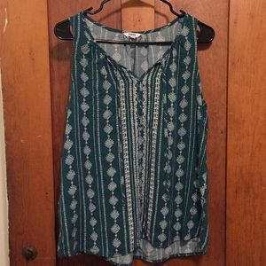 Turquoise cotton tank top